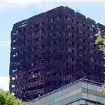 Burnt out Grenfell Tower.